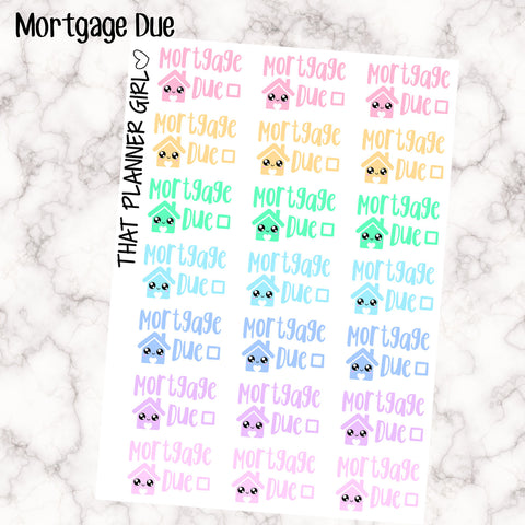 Mortgage Due Kawaii - Perfect for the Erin Condren Life Vertical or personal planner - Pastel Rainbow - 21 Stickers