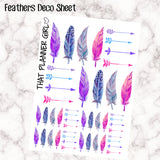 Decorative Feather Stickers - perfect for the Erin Condren EC or Plum Paper Planner - beautiful, fun feathers + arrows