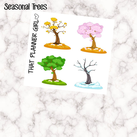 4 Seasonal Tree Stickers - Perfect for the Erin Condren EC Vertical Planner - fit in the vertical boxes - individually kiss cut - beautiful
