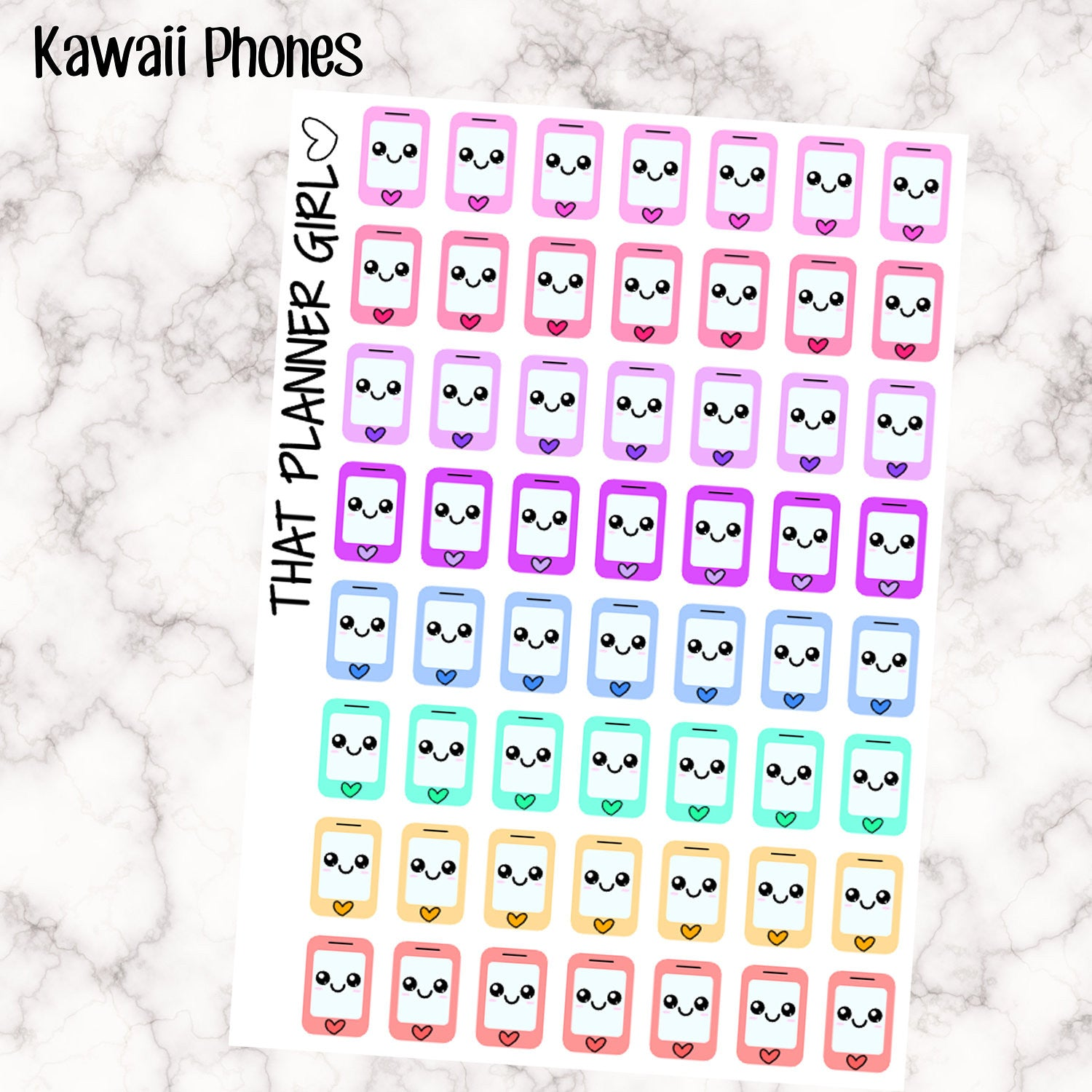 Kawaii Rainbow Mobile Phone / Telephone / Phone Call Icons - Multi Colour - Erin Condren Vertical or Horizontal Planner Stickers