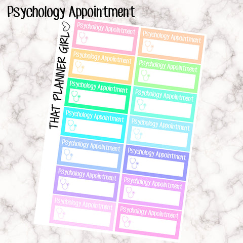 Psychology Appointment Labels - Perfect for the Erin Condren Life Vertical or personal planner - Pastel Rainbow - 14 Stickers