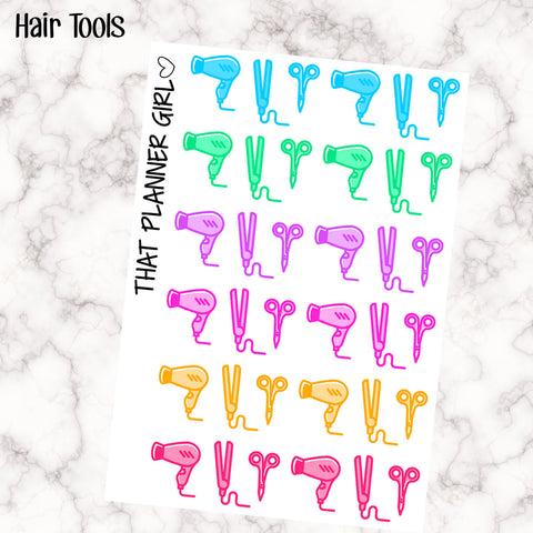 Hair Accessory Stickers for Planners - Multi Colour Pastel - Perfect for hair appointments  - Hair dryer, straightener etc - Erin Condren