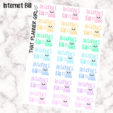 Internet Bill Due Kawaii - Perfect for the Erin Condren Life Vertical or personal planner - Pastel Rainbow - 21 Stickers
