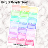 Happy Birthday Half Boxes (with glitter/confetti) Perfect for the Erin Condren EC or Plum Paper Planner PPP - Happy Birthday - Mixed -Pastel