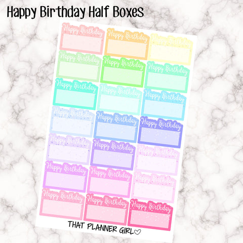 Happy Birthday Half Boxes Stickers