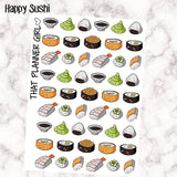 HAPPY SUSHI! - cute decorative sushi stickers! Kawaii style - 51 stickers