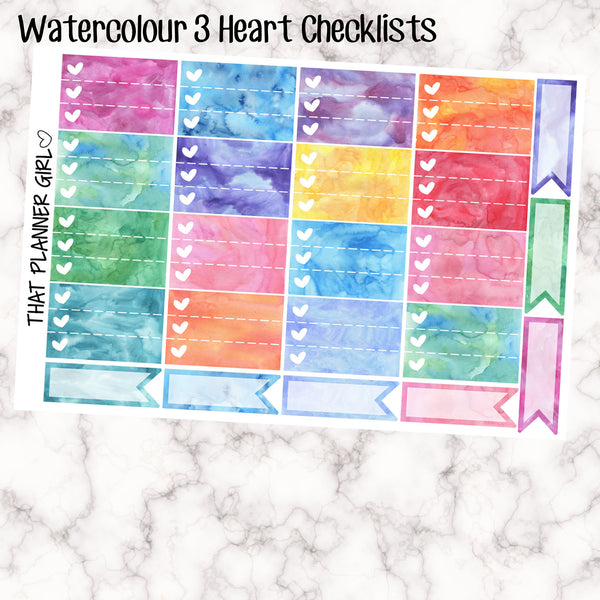 Water Colour 3 Heart Check Box Stickers