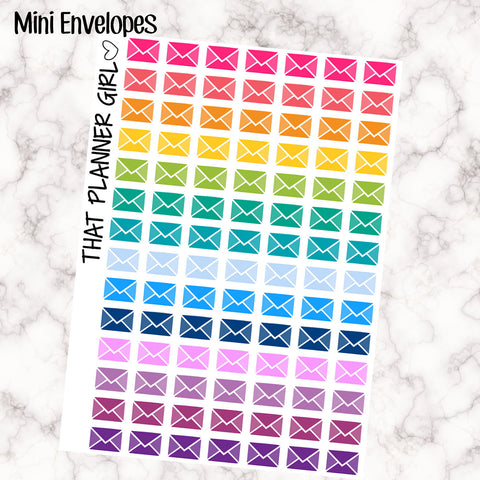 Envelope / Mail / Email Stickers- Perfect for the Erin Condren EC + Plum Paper Planner PPP - 98 Individual Stickers