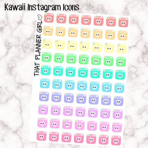 Kawaii Camera Stickers - Perfect for the Erin Condren Life Vertical or personal planner - Pastel Rainbow - 70 Stickers