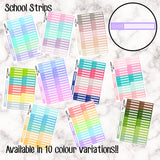 School Strips - 10 Colour Variations Available!! - 36 stickers per sheet! - use to mark study/school/uni/college time! - Premium Matte