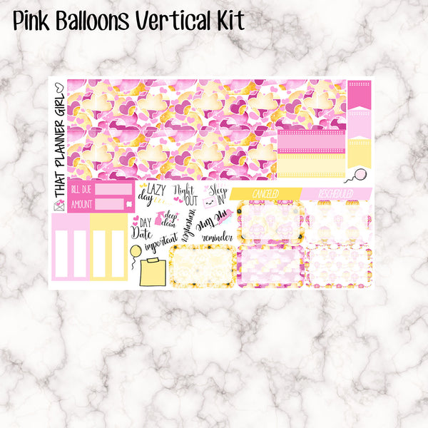 Pink Balloons, Yellow Flowers Kit - VERTICAL weekly kit