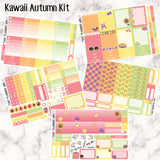 Autumn Critters- Hand Drawn Exclusive Artwork - VERTICAL weekly kit - Erin Condren Planner Stickers - inc. full boxes, 1/2 boxes, checklists