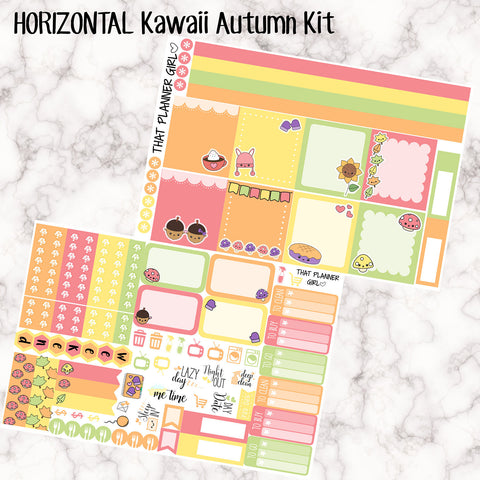 Autumn Critters - HORIZONTAL full weekly kit - Erin Condren Planner Stickers - full boxes, 1/2 boxes, washi, icons, weekend banner + more