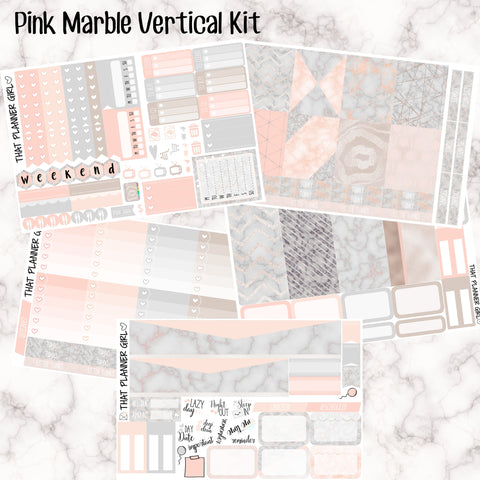Pink Marble Kit - VERTICAL weekly kit - Erin Condren Planner Stickers - inc. full boxes, 1/2 boxes, checklists etc!