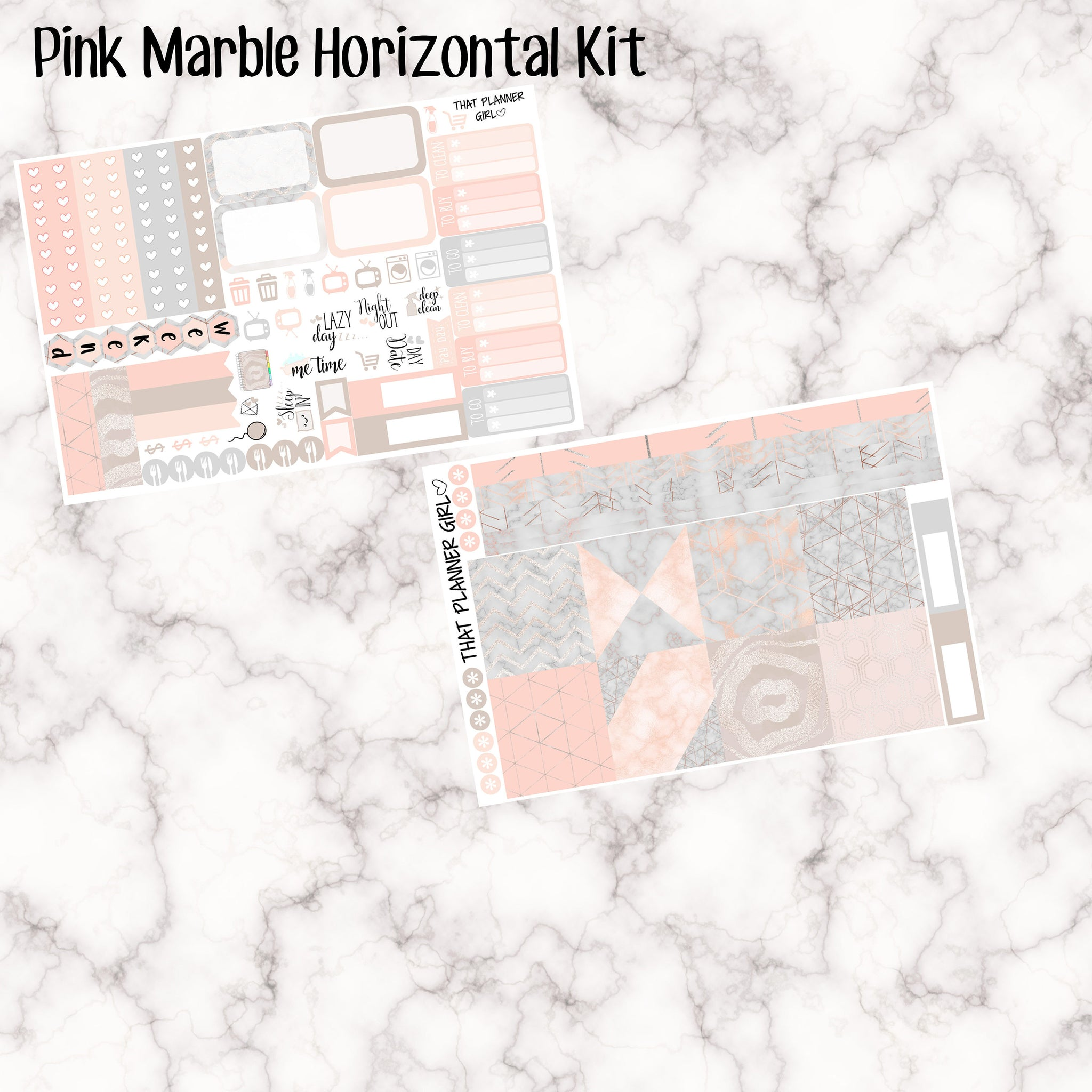 Pink Marble - HORIZONTAL weekly kit
