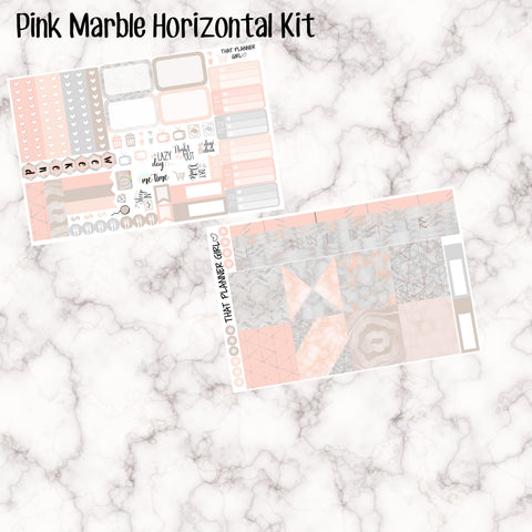 Pink Marble - HORIZONTAL  eekly kit - Erin Condren Planner Stickers - full boxes, 1/2 boxes, washi, icons, banners etc