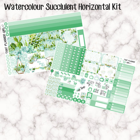 Watercolour Succulent Kit - HORIZONTAL kit - Erin Condren Planner Stickers - full boxes, 1/2 boxes, washi, icons, weekend banner + more
