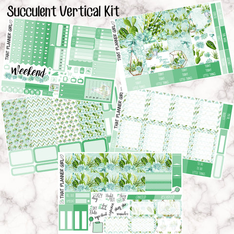 Watercolour Succulent - VERTICAL kit - Erin Condren Planner Stickers - full boxes, 1/2 boxes, washi, icons, weekend banner + more