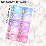 Felix No Spend Half Box Stickers - Perfect for marking monthly no spends! - Hand Drawn Original Artwork
