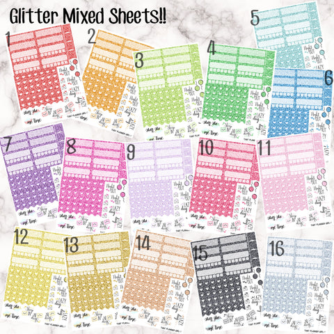 Glitter Sample Sheets! 16 Colour Options available!! - Perfect for the Erin Condren Life Vertical or personal planner