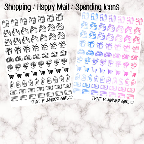 Shopping Icons - Black/white or coloured - Cute and perfect for shopping and spending! - Erin Condren EC / kikki K planner - Premium Paper