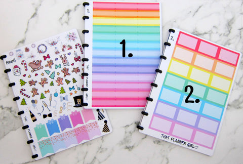 BASIC - INDIVIDUAL SHEETS - ThatPlannerGirl Sticker Binder - Functional Rainbow Sticker Sheets - Punched to fit the discbound arc system