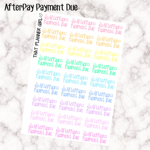 AfterPay Payment Due Kawaii - Perfect for the Erin Condren Life Vertical or personal planner - Pastel Rainbow - 27 Stickers
