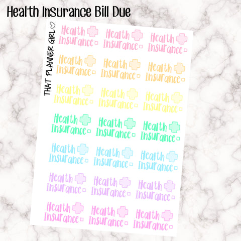 Health Insurance Due Kawaii - Perfect for the Erin Condren Life Vertical or personal planner - Pastel Rainbow - 21 Stickers