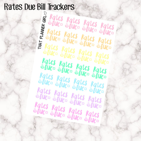 Rates Due Kawaii - Perfect for the Erin Condren Life Vertical or personal planner - Pastel Rainbow - 28 Stickers