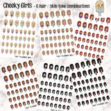 Cheeky Kawaii Girls - 6 Skin / Hair Combinations -Perfect for marking any cheeky event!! - Hand Drawn Original Artwork -Light / deep skin