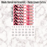Black Coral Florals - VERTICAL weekly kit - Erin Condren Planner Stickers - inc. full boxes, 1/2 boxes, checklists etc! Optional Date Covers
