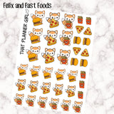 Felix Junk Food / Fast Foods Stickers - Perfect for marking eating out, takeout, fast food, pizza nights etc - Hand Drawn Original Artwork