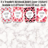 4 x Traveler's Notebook Sticker Covers - Red and Black Floral- Perfect for quick easy decoration of TN inserts! Available  FF.no1 - no.8