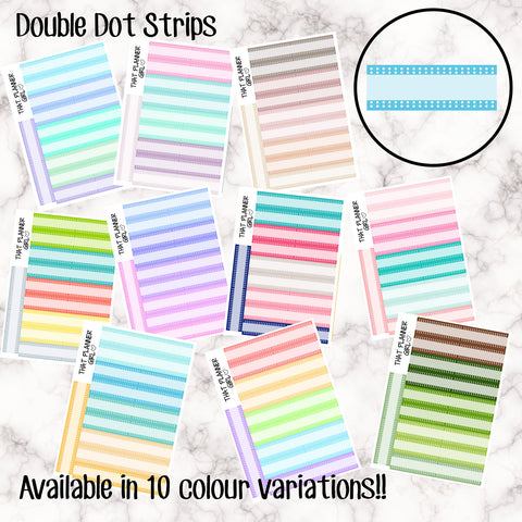 Double Dot Strips - 10 Colour Variations Available!! - 20 stickers per sheet! - use for appointments, meetings, events etc - Premium Matte