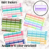 Habit Trackers - 10 Colour Variations Available!! - 27 stickers per sheet! - use to track habits + mindfulness - EC side bar - Premium Matte