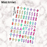 Mixed Arrows - Kawaii cute style - 75+ stickers per sheet! - Highlight important events or reminders! Planner Stickers - Premium Matte