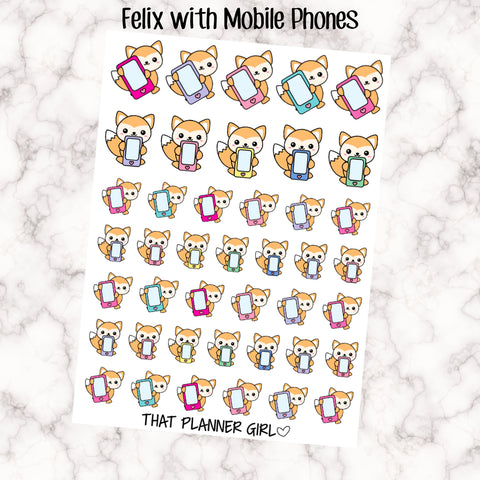 Felix with Mobile Phones - Perfect for marking phone calls, cell phones, skype calls, recharging phone credit! Hand Drawn Original Artwork