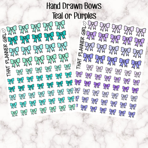 Bow Icons Teal / Purple - Kawaii cute style!! Two colour schemes! Planner Stickers - Premium Matte - Hand Drawn by me!!