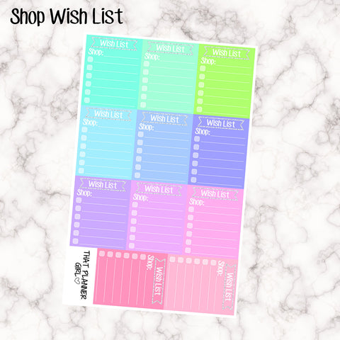 Shop Wish List - Sized for an Erin Condren Box / Side Bar - Write down your etsy wish list using these pretty boxes with a touch of glitter!