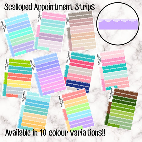 Scalloped Appointment Strips - 10 Colour Variations Available!! - 24 stickers per sheet! - use for appointments, events etc - Premium Matte