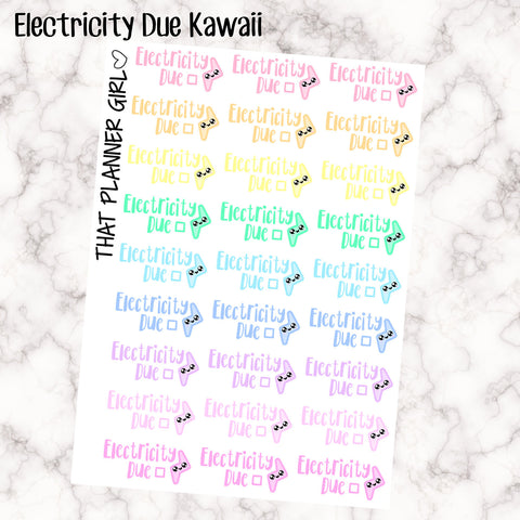 Electricity Due Kawaii - Perfect for the Erin Condren Life Vertical or personal planner - Pastel Rainbow - 27 Stickers - Premium Matte