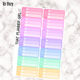 To Buy Planner Sticker Mini Check Lists - Perfect for the Erin Condren Life Vertical or personal planner - Pastel Rainbow - 14 Stickers