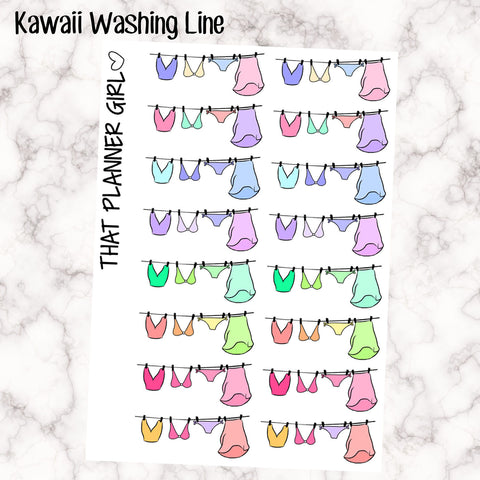 Washing Drying on the Line - Kawaii style washing - Laundry Day - Perfect in Erin Condren EC / PPP - pretty / functional - pastel rainbow