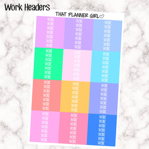 Work Headers - Erin Condren Vertical - at least 7 of each colour! Enough for 11 whole weeks! Rainbow Pastel Colours