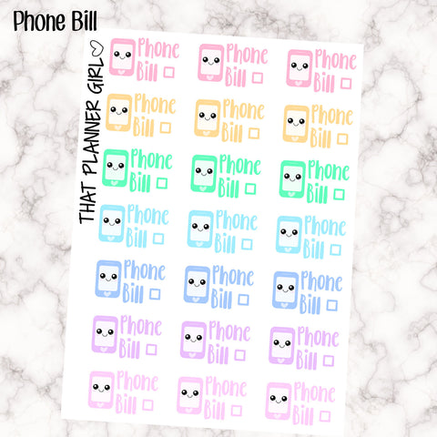 Phone Bill Due Kawaii - Perfect for the Erin Condren Life Vertical or personal planner - Pastel Rainbow - 21 Stickers
