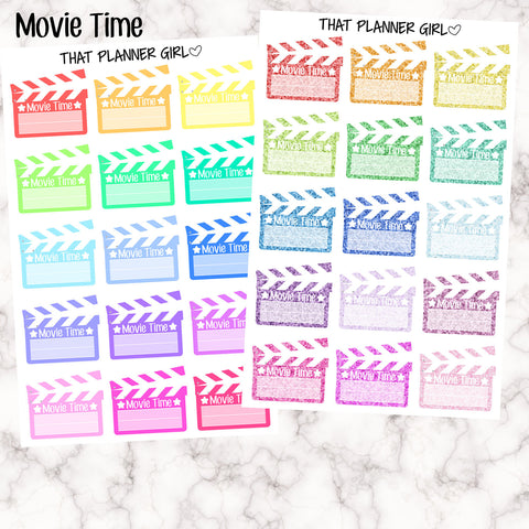 Movie Time - Glitter or Plain Stickers