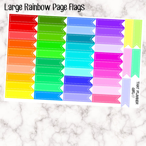 Long Page Flag Stickers - Bright Rainbow Theme - Total - 45 Stickers - Stickers  for the Erin Condren!