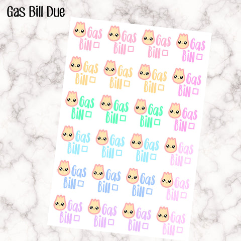 Gas Bill Due Kawaii - Perfect for the Erin Condren Life Vertical or personal planner - Pastel Rainbow - 24 Stickers
