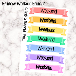 Rainbow Flag Weekend Banner Stickers