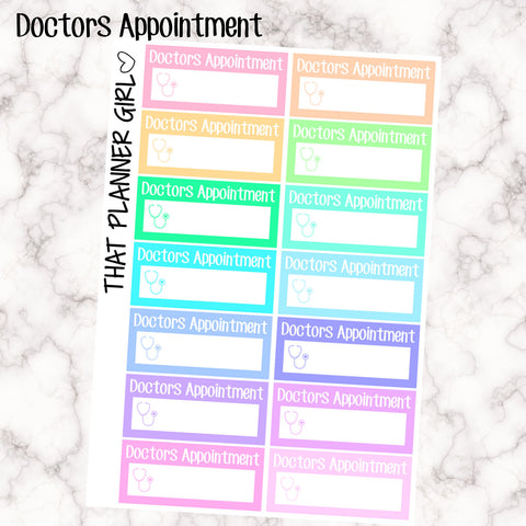 Doctors Appointment Labels - Perfect for the Erin Condren Life Vertical or personal planner - Pastel Rainbow - 14 Stickers
